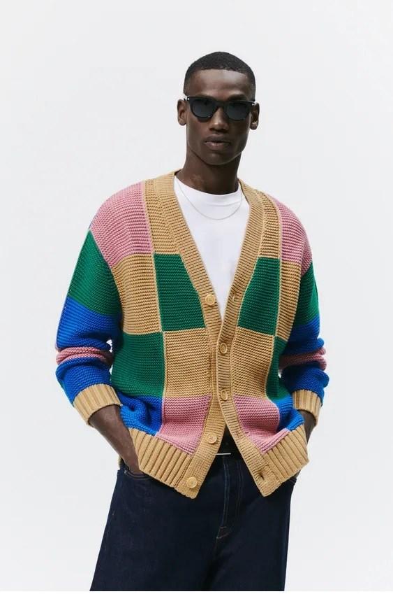 Los jerseis hombre zara cardigan color block