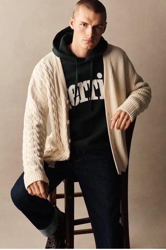 Los jerseis hombre zara cardigan trenzado