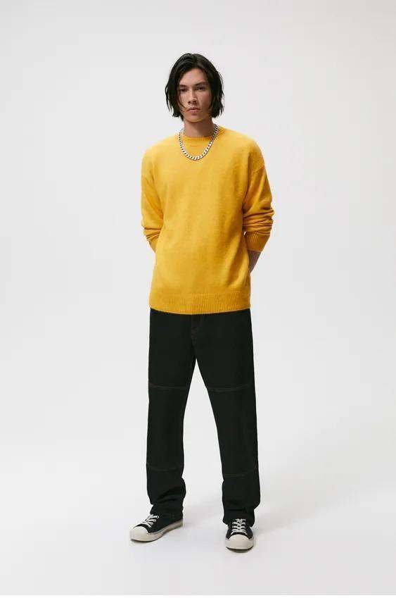 Los jerseis hombre zara cuello colores amarillo