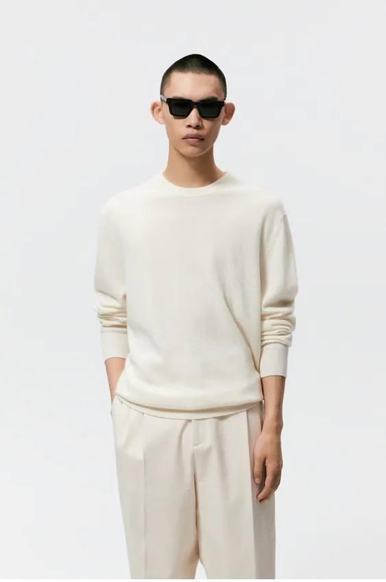 Los jerseis hombre zara cuello colores blanco
