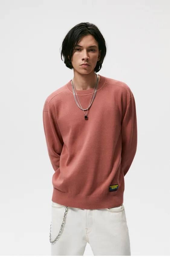 Los jerseis hombre zara cuello colores granate