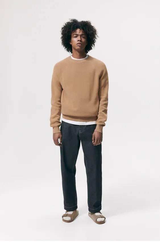 Los jerseis hombre zara cuello colores tostado