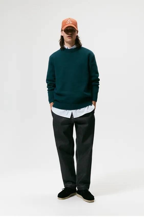 Los jerseis hombre zara cuello colores verde