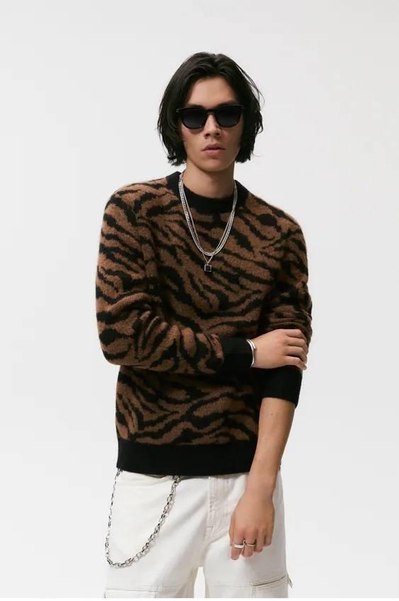 Los jerseis hombre zara cuello estampado animal print