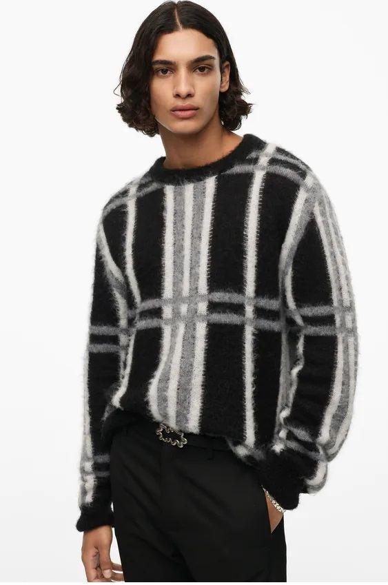 Los jerseis hombre zara cuello estampado jaquard