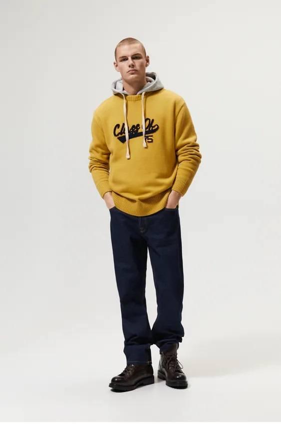 Los jerseis hombre zara cuello estampado letras