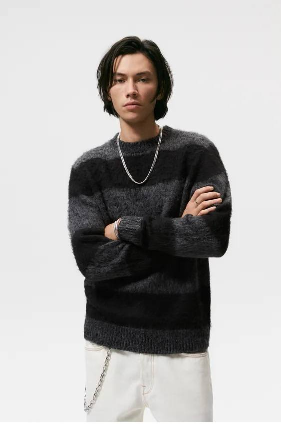Los jerseis hombre zara cuello estampado rayas