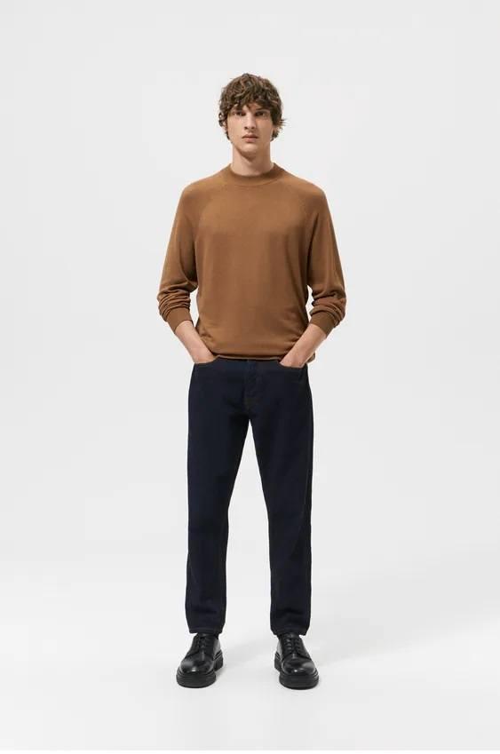 Los jerseis hombre zara cuello perkins camel