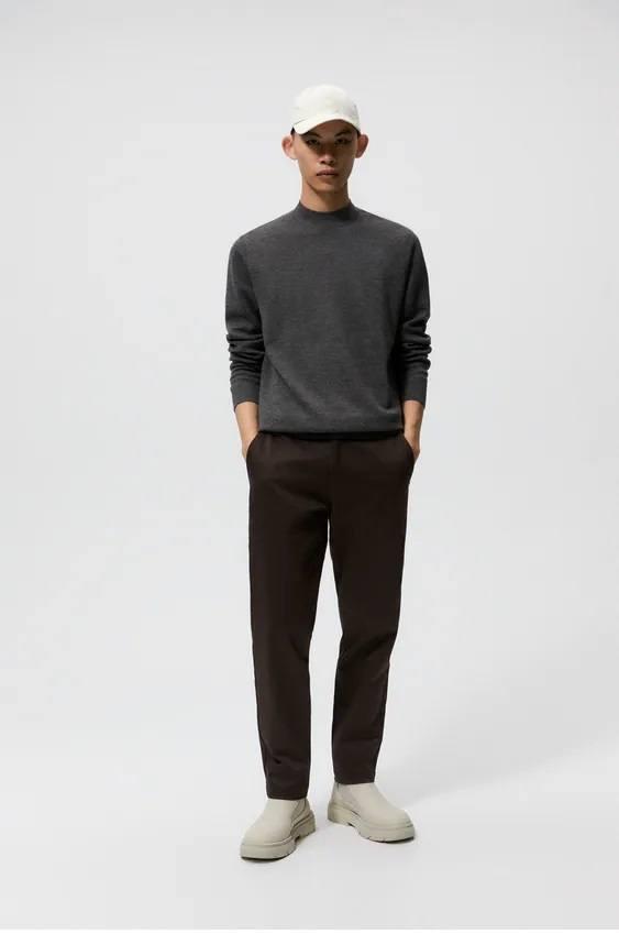 Los jerseis hombre zara cuello perkins gris