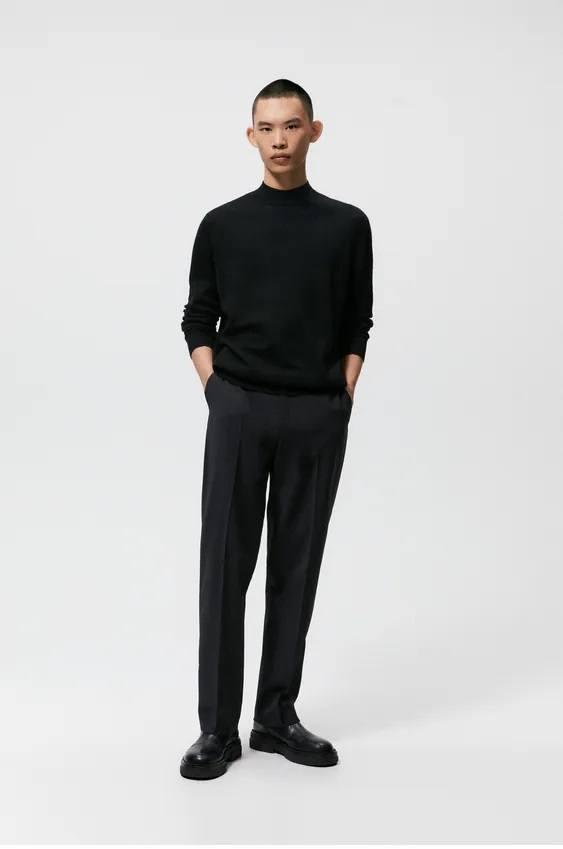 Los jerseis hombre zara cuello perkins negro