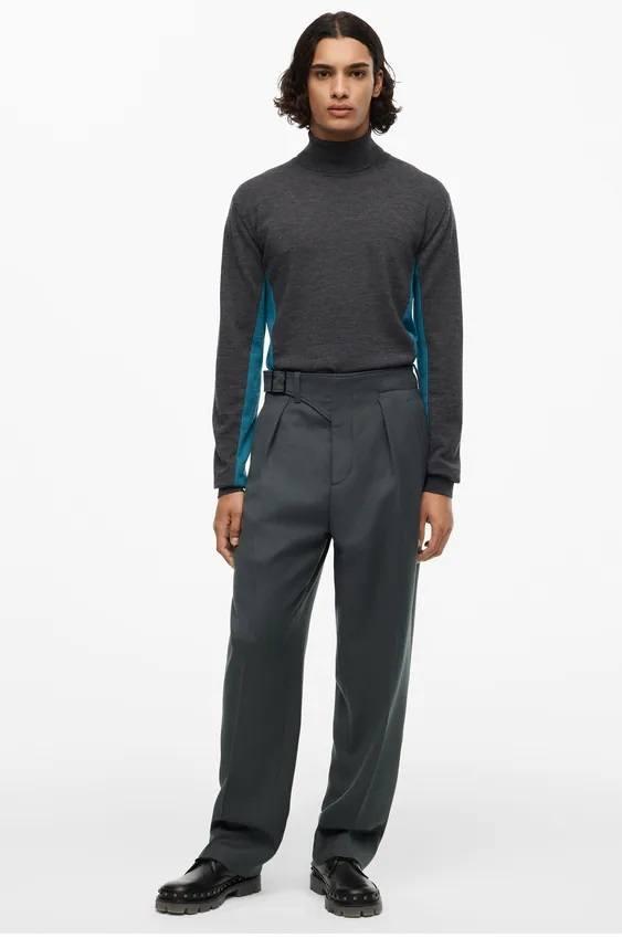Los jerseis hombre zara cuello vuelto gris azul