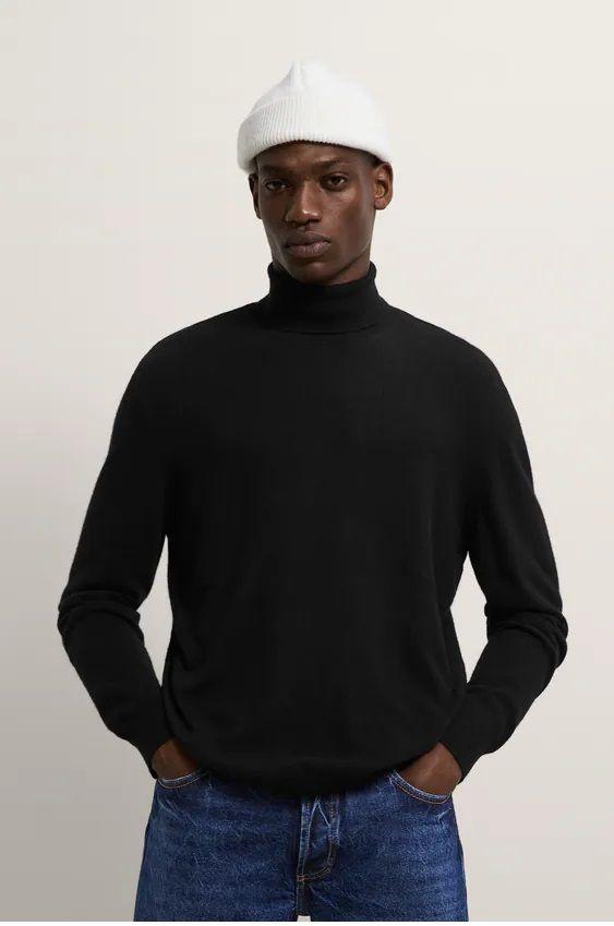 Los jerseis hombre zara cuello vuelto negro