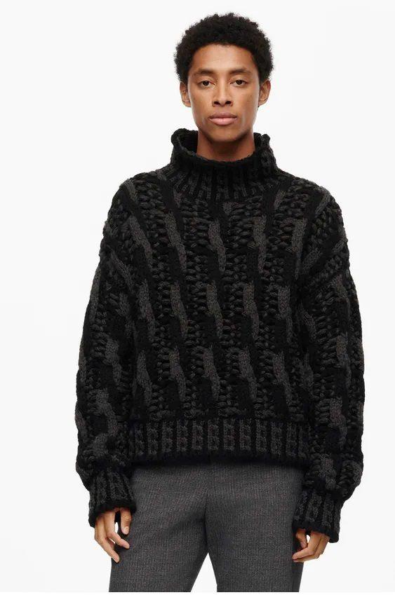 Los jerseis hombre zara cuello vuelto trenzado