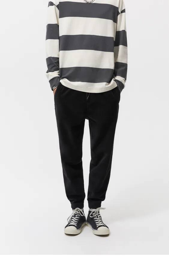 Pantalones hombre jogger pana negro