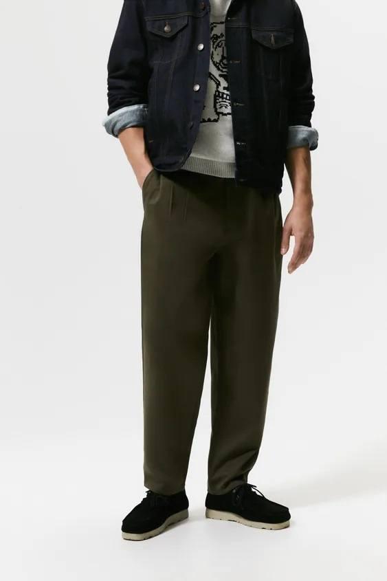 Pantalones hombre pantalon chino pliegues