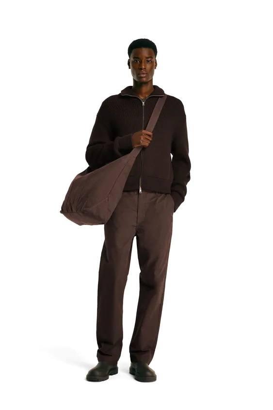 Pantalones hombre pantalon chino recto marron