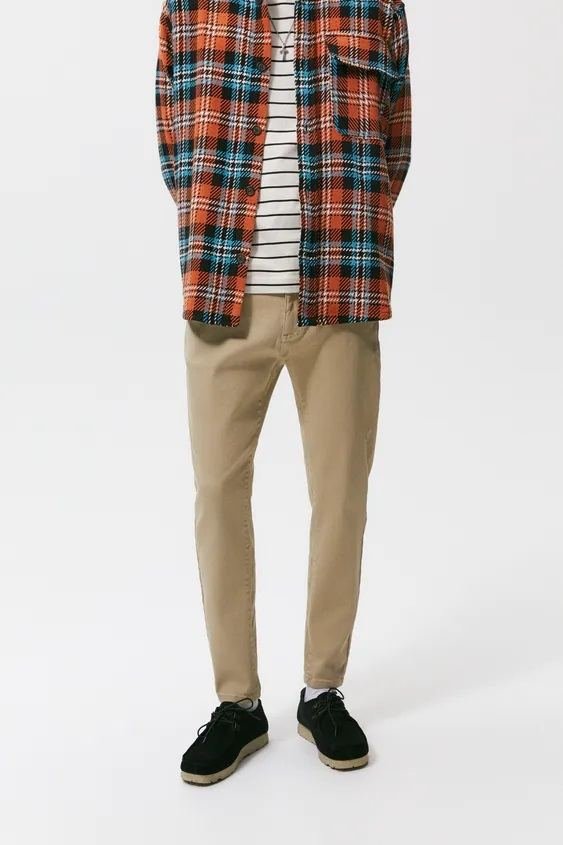 Pantalones hombre pantalon chino skinny beige