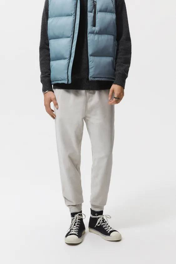 Pantalones hombre pantalon pana jogger color crudo