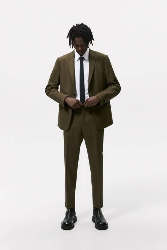 Pantalones hombre pantalon slim traje verde