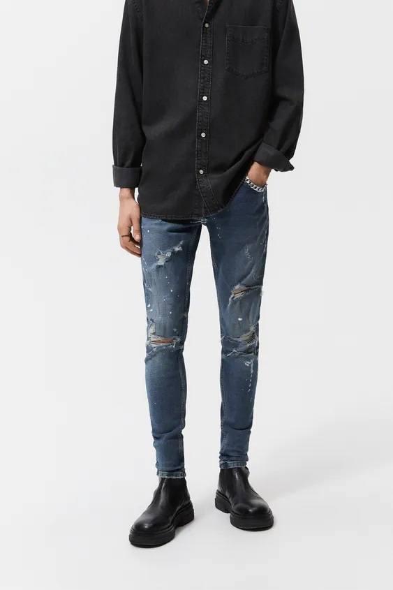 Pantalones hombre pantalon tejano skinny