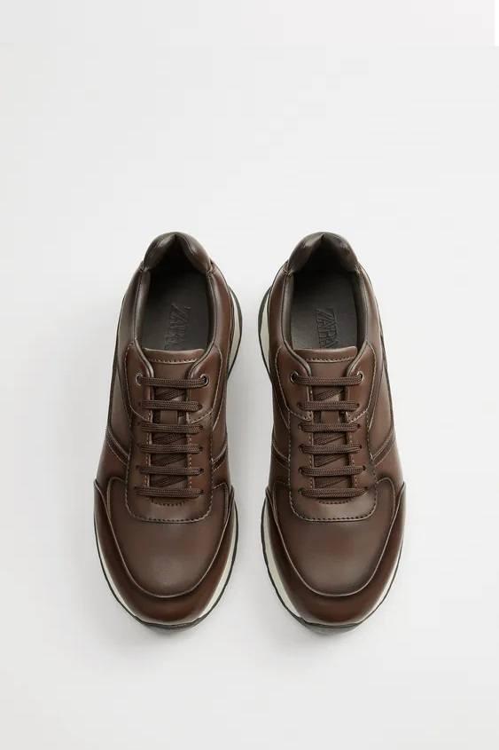 Zapatillas de zara para hombre RETRO FOTOS zapatilla running forro marron