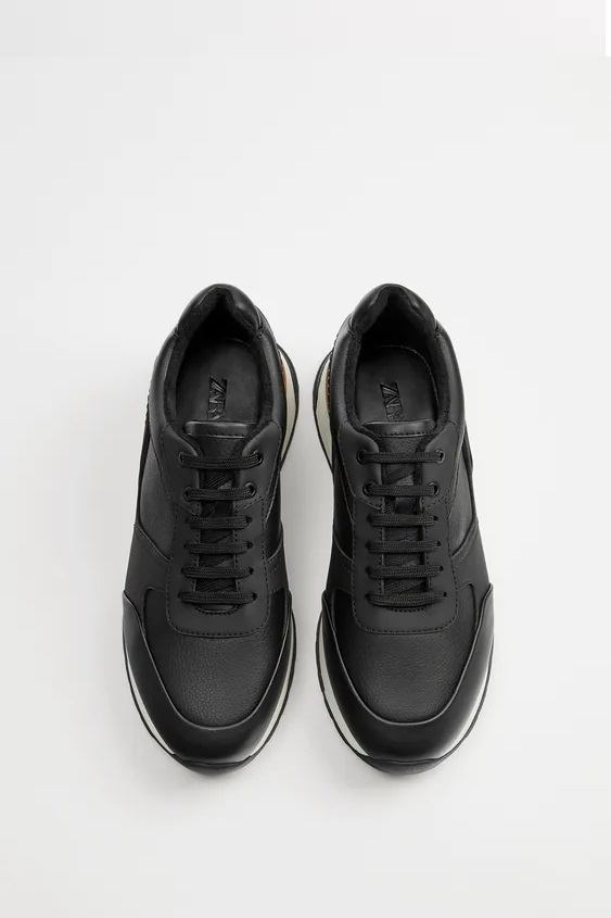 Zapatillas de zara para hombre RETRO FOTOS zapatilla running forro negro