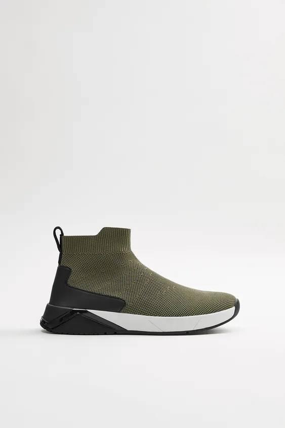 Zapatillas de zara para hombre botin calcetin khaki