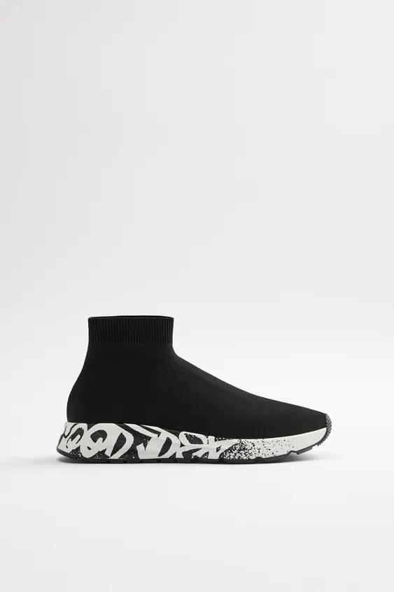 Zapatillas de zara para hombre botin calcetin negro