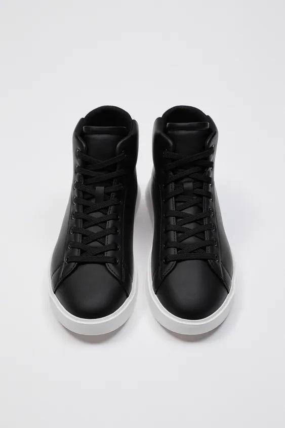 Zapatillas de zara para hombre botin negro suela blanca