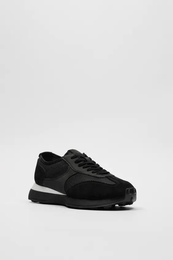 Zapatillas de zara para hombre zapatilla running retro negra