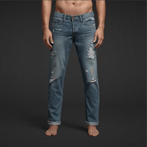 Jeans-ajustados-Hollister-desgastados-claros