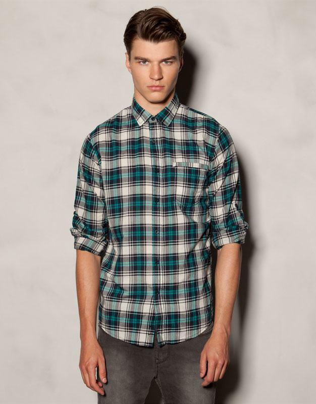camisa-cuadros-pullandbear-verde