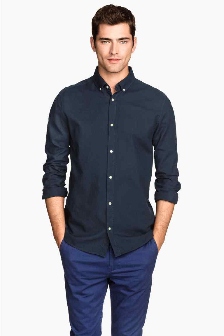 Tendencias camisas hombre 2015 camisa azul h m - Tendencias peinados hombre 2015 ...