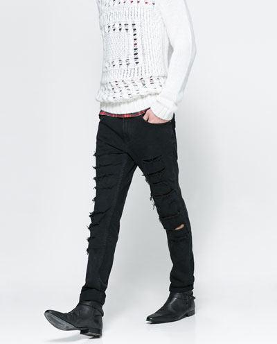 tendencias-camisetas-hombre-2014-jeans-pitillo-rotos-de-zara