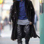Kanye West walks and talks on his cellphone while out shopping in Soho, NYC