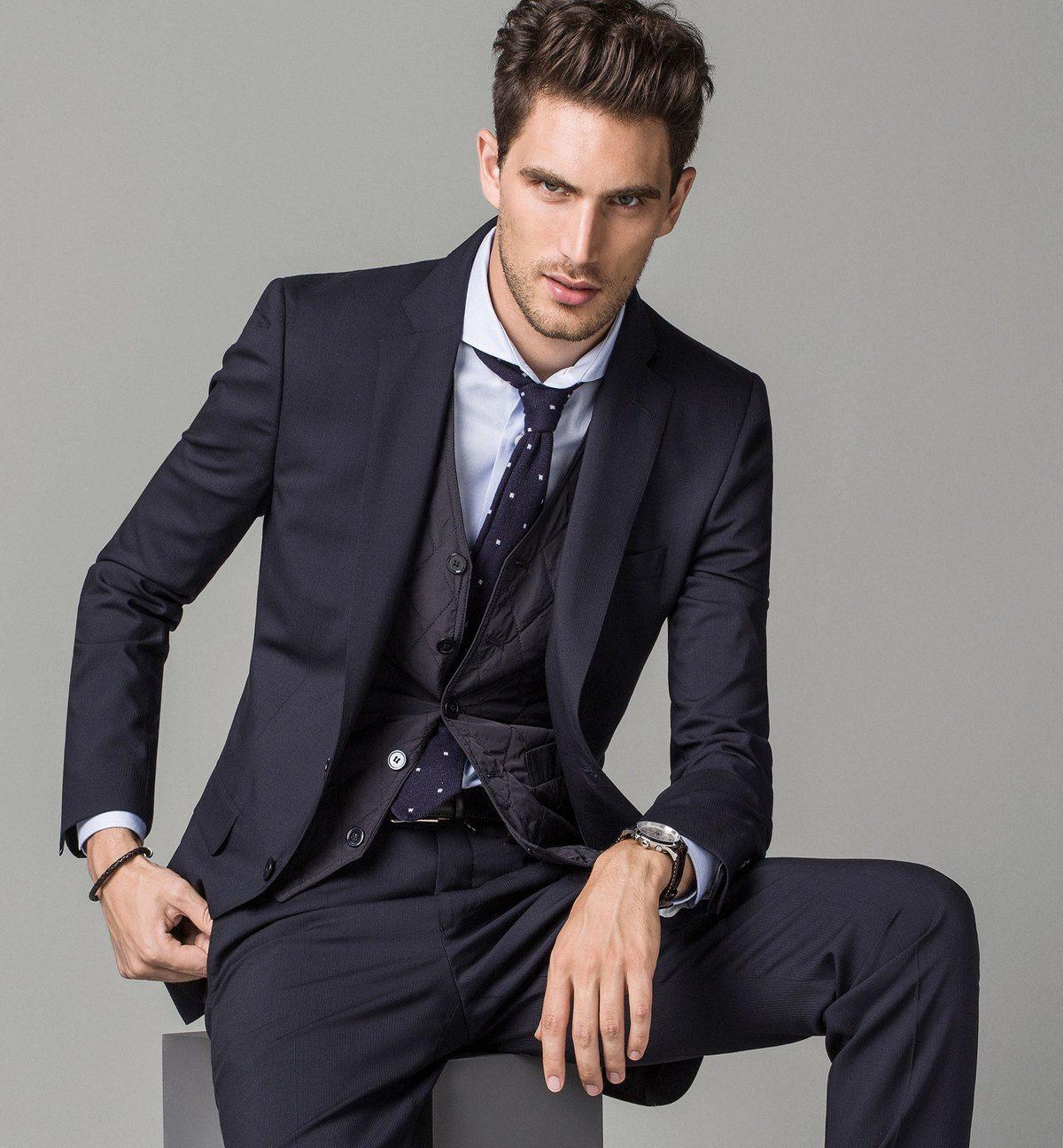 Tendencias trajes hombre 2015 traje azul massimo dutti - Tendencias peinados hombre 2015 ...