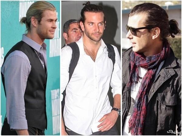 Coleta, peinado tendencia para el cabello largo masculino 2015