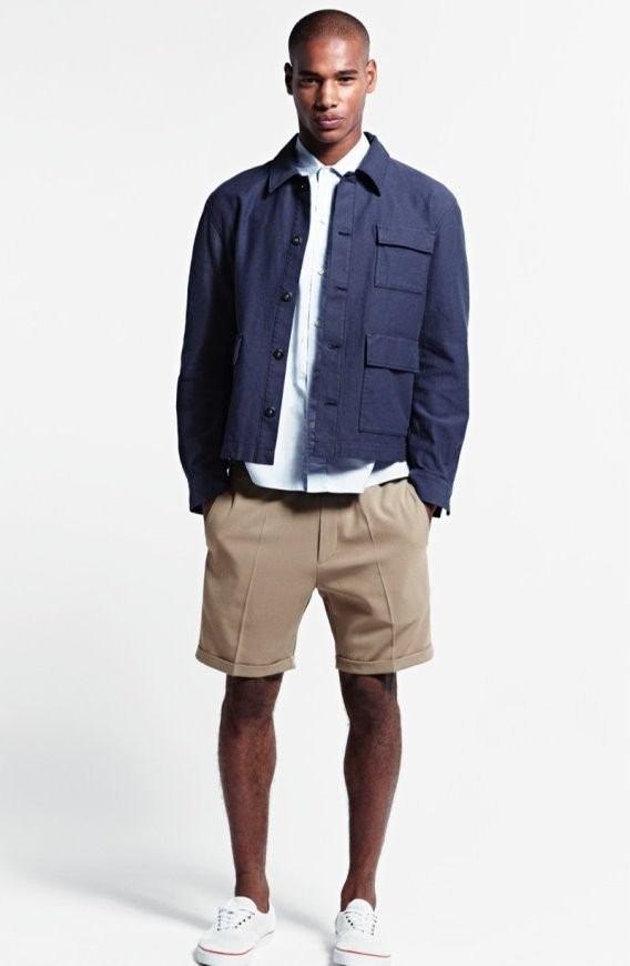 Lookbook H&M primavera-verano 2015 cazadora azul bermudas