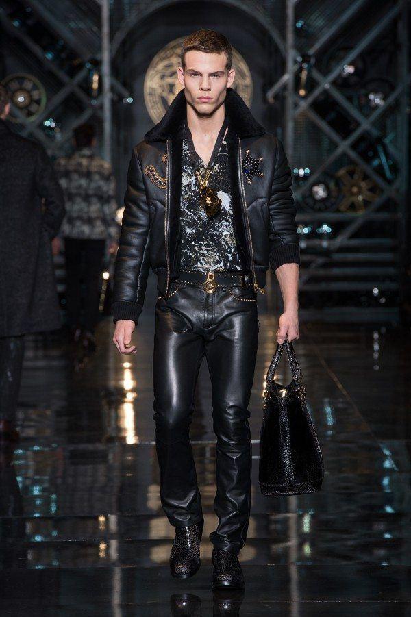 versace-hombre-otono-invierno-2014-2015-cazadora-pantalon-cuero