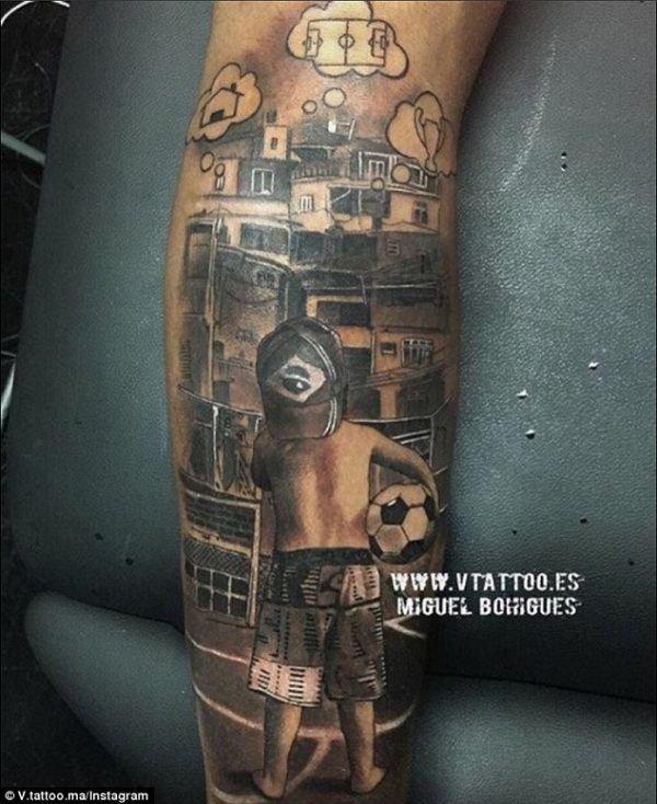 tatuajes-neymar-tatuaje-pierna-niño-brasil-soñando-futbol