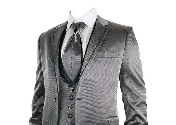 traje boda gris