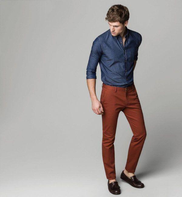 catalogo-massimo-dutti-2015-tendencias-moda-hombre-camisa-azul-pantalon-teja
