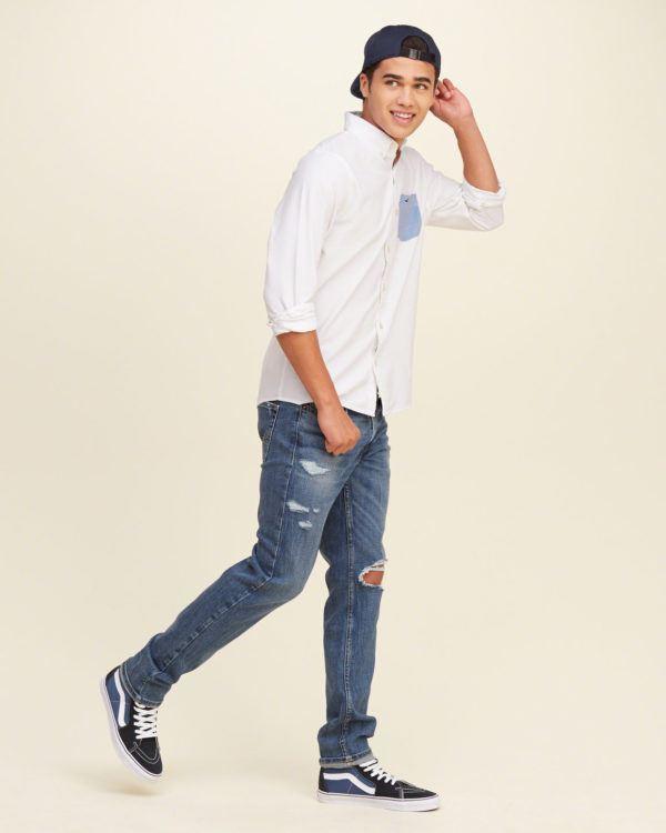 moda-camisas-hombre-2016-blanca-oxford-bolsillo