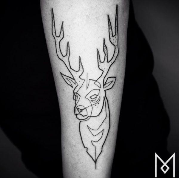 tatuajes-hechos-con-una-sola-linea-continua-ciervo