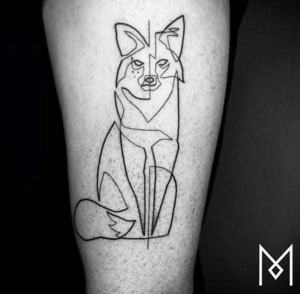 tatuajes-hechos-con-una-sola-linea-continua-lobo