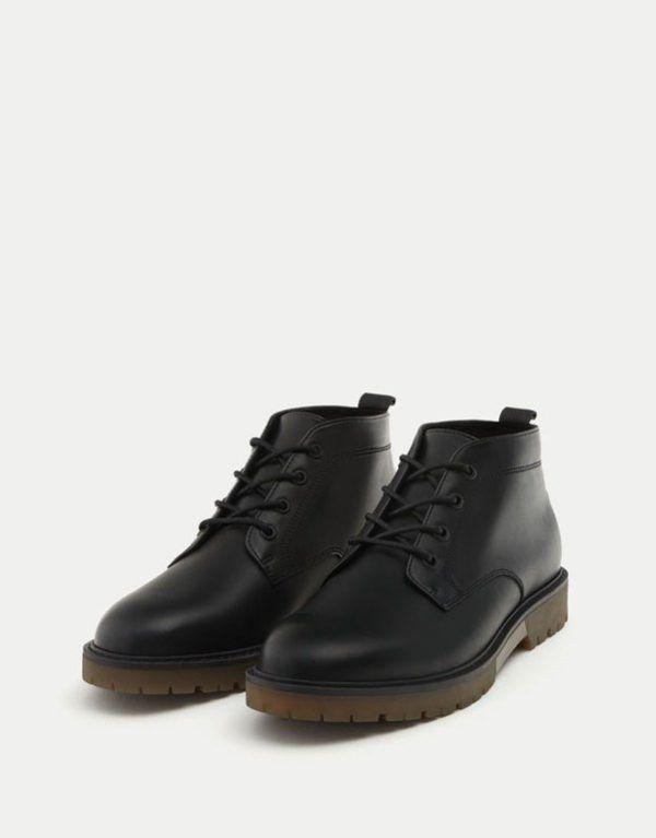 Otoño Invierno hombre Botas de cuero negro botas de