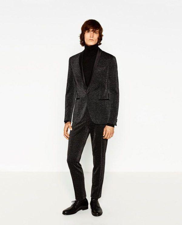 0907cb9efdb moda-hombre-navidad-2016-zara-smoking-brillo Como este traje de fiesta ...