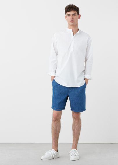 rebajas-mango-verano-camisa-blanca-bermuda-azul