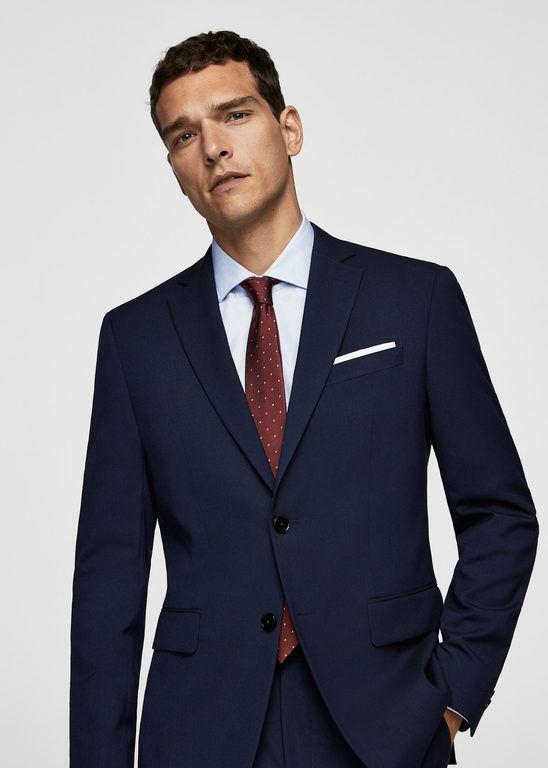 MANGO MAN Chaqueta de traje para hombre azul azul marino