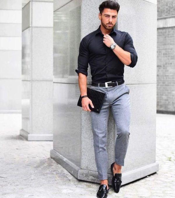 Trucos para llevar pantalón gris